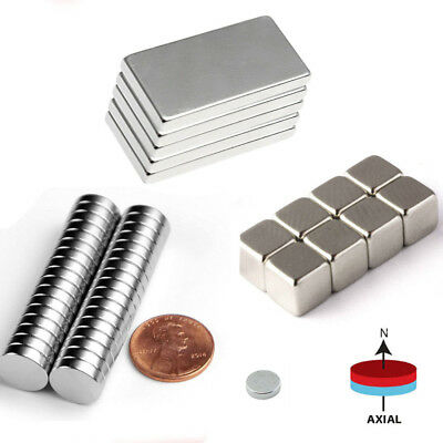 5-100pcs Neodymium Block Round Magnet N52 Super Strong Rare Earth Magnets