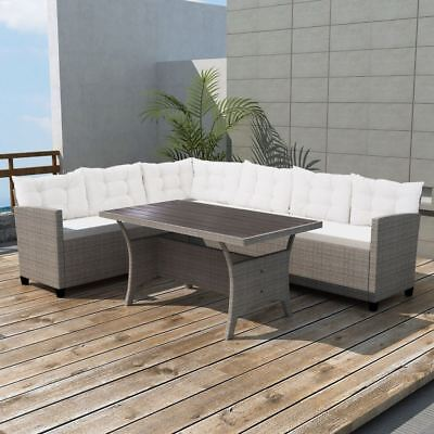 vidaXL Corner Sofa Set 12 Pieces Poly Rattan Wicker Gray Garden Sunbed Lounger ()