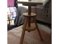 Stool Wooden - Adjustable Height - unpainted / unstained