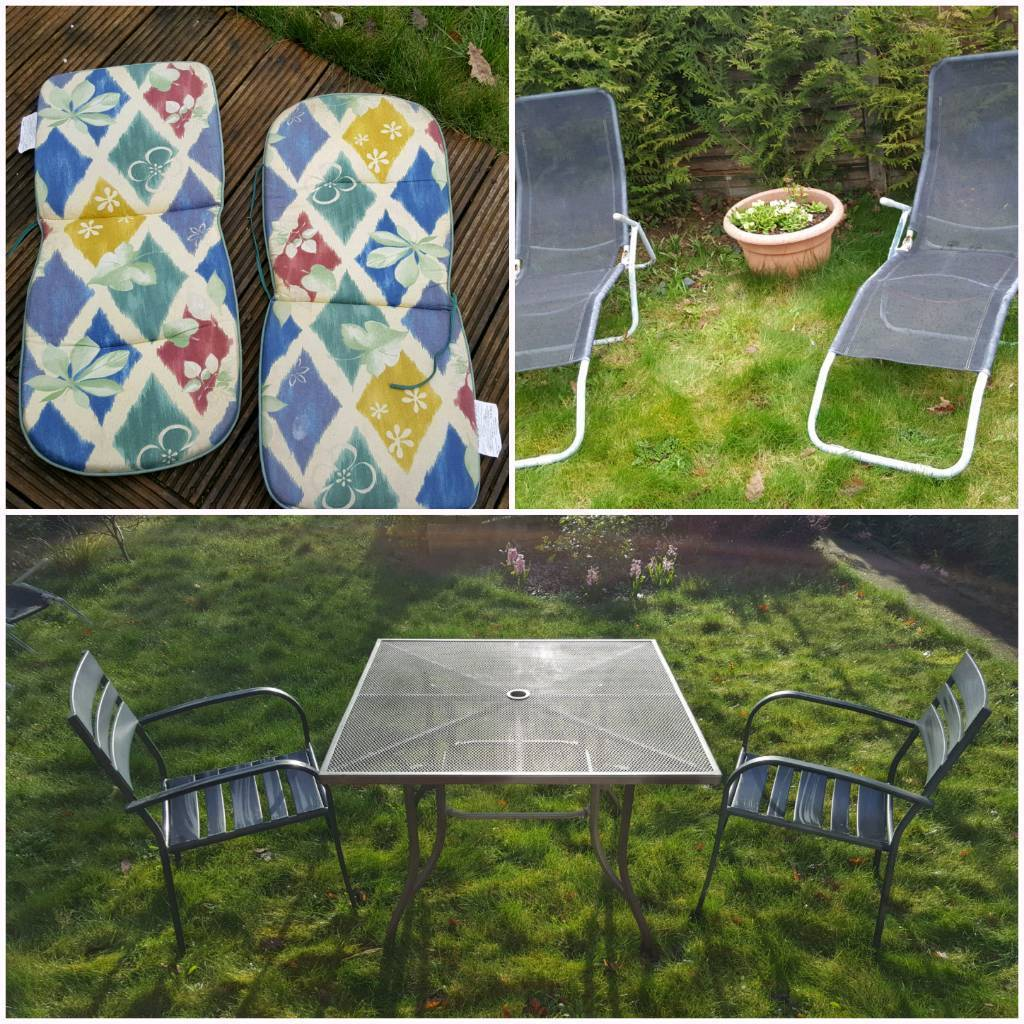Powder Coated Garden Mesh Table Chais Loungers Pads