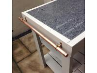 Butchers block with granite work top