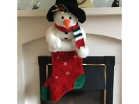 Beautiful plush velvet teddy bear and snowman Xmas Stockings