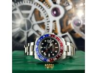 New Silver Rolex GMT Master with Red/Blue Bezel Comes Rolex Bagged and Boxed with Paperwork