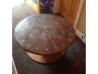 Bespoke round concrete coffee table.