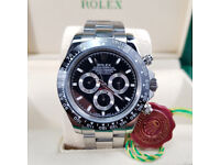 Rossco's Watches. New Rolex Daytona - Silver Oyster Bracelet with Black Face and Black Bezel