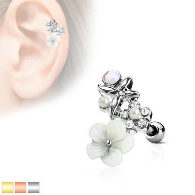 1pc Flower, Pearl, Opalite Gem Curve Tragus Cartilage Barbell Ring 16g (Gem Curve)
