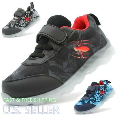 Kids Boys Toddler Spider Sneakers Athletic Shoes Tennis Light Up Strap Casual