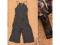 Size 10 polka dot jumpsuit with culottes leg