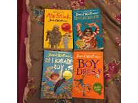 4 books - Mr Stink, Ratburger, Billionaire Boy and The boy in the dress