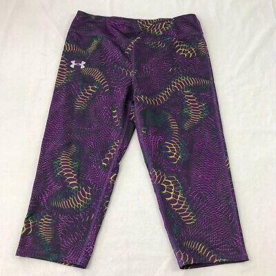 Under Armour Girls Fitted Pants Purple Green Geometric Elastic Waist Stretch YXL