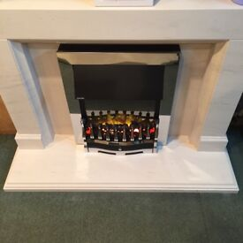 SOLID LIMESTONE FULL FIREPLACE SUITE