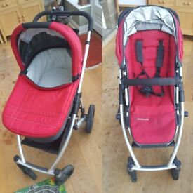 UPPAbaby VISTA Pram System - Red/Silver frame 2012 model including carrycot,seat, accessories