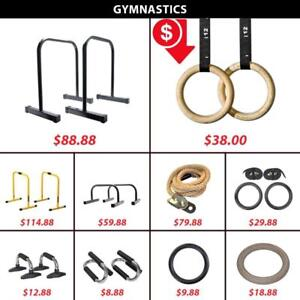Gymnastic Parallettes Olympic Rings Pull Up Push Bar Dip Equalizers Lebert Climbing Rope Wooden Plastic Ring Gym