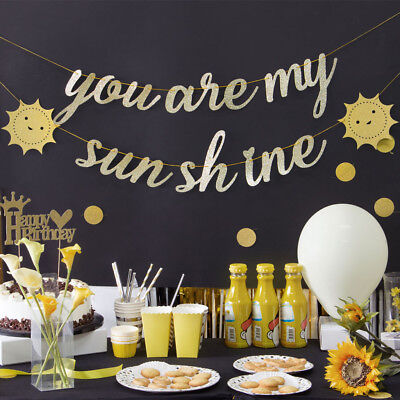 You Are My Sunshine Gold Glitter Banners with Sun Baby Shower Birthday Party