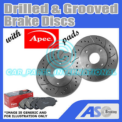 Drilled & Grooved 4 Stud 232mm Vented Brake Discs (Pair) D_G_273 with Apec Pads