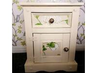 Beautiful Shabby Chic Cream And Green Bedside Table Storage Unit Mexican Pine