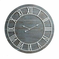 Wall Clock 36 3' Large Roman Numerals Metal Wooden Blue Shabby Chic Farmhouse