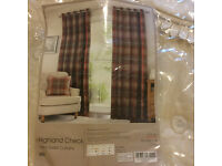 Tartan Eyelet Curtains Used 6 mths from Dunelm W:116cm, D:182cm