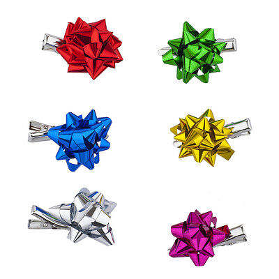 Lux Accessories SilverTone Gift Wrap Christmas Xmas Present Bow Salon Hair Clips
