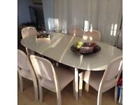 Large extending washed beech Christmas dining table & 6 chairs🎄🎄🎄🎄