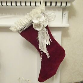 CHRISTMAS STOCKINGS VICTORIAN STYLE SHABBY CHIC WITH LACE SATIN FAUX FLOWERS EMBELLISHED