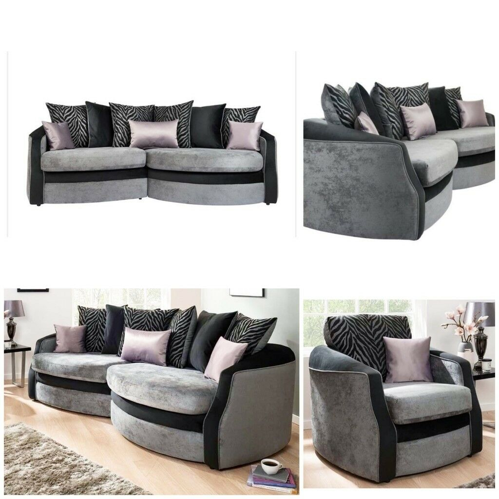 Black/Grey Brand New Snuggle Sofa Plus Chair Free Delivery
