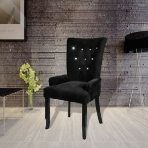 Genial Luxury High Back Dining Chair Tufted Velvet Black Accent Armchair Vintage  Home