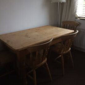 Solid pine table with 4 pine chairs