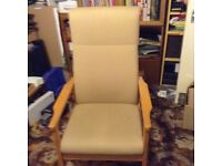"""High Back Chair 44""""x24""""x25 """" heavy make will not slide getting on and off. VGC buyer collect £30"""