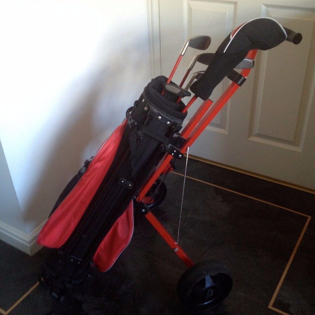 Junior Golf Clubs - Wilson Prostaff complete junior golf set (ages 11-14 years) & golf trolley