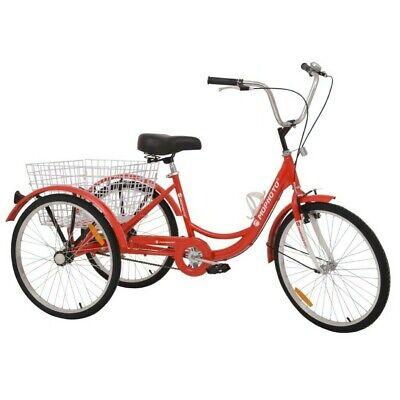 24 inch Adult Tricycle Trike 3-Wheel Bicycle Bike 1/7 Speed Study Sport Bike UK