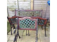 Metal Garden Furniture 2x Two Seaters 3 x One Seater Chairs