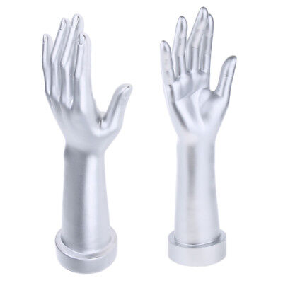 1 Pair Mannequin Hand Arm Display Base Female Gloves Jewelry Model - Silver