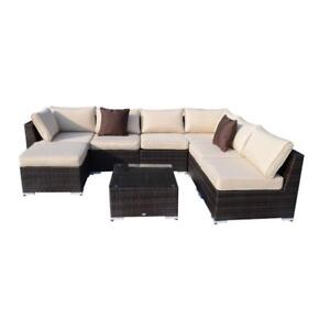 8pc Deluxe All-weather Rattan Sofa Set Patio Wicker Outdoor Garden Lounge Chair and Table / patio furniture brand new