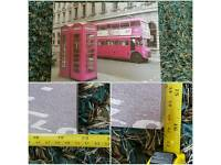 Canvas Print of London Bus & Traditional Telephone Box (Greyscale and pink)