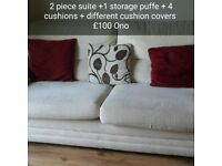 Sofa 2 piece suite + 1 storage puffe + 4 cushions + same different cushion covers