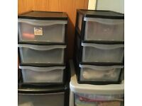 BARGAIN 4 SETS OF STORGE DRAWERS EX COND £20. THE LOT.