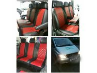 LEATHER CAR SEAT COVERS MERCEDES VITO RENAULT TRAFFIC VAUXHALL VIVARO FORD TRANSIT TOYOTA ESTIMA