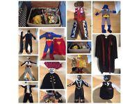 Fancy dress in wicker box,Batmanx2,Superman,PowerRangersx2,police,piratecowboy,HPotter,bobbuilder