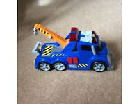 Fire engine, police van, pick up truck, tractor, trailer with logs & JCB truck