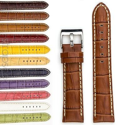 StrapsCo Premium Crocodile Embossed Leather Watch Band Mens or Womens Croc Strap