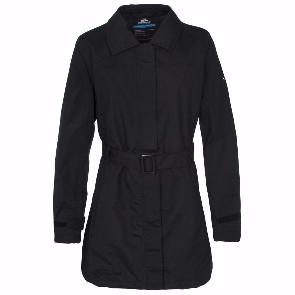 LADIES JACKET WATERPROOF LARGE BLACK JILLY TRESPASSin Barrhead, GlasgowGumtree - This jacket has an iconic and timeless mac design, and detachable belt. Slip on the Jilly womens waterproof and windproof jacket for smart style plus practical protection. With a TP50 rating, this jacket provides you with waterproof protection up to...
