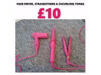 PINK HAIR DRYER, CURLERS & STRAIGHTNERS
