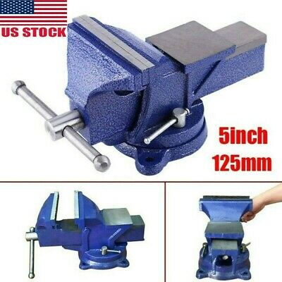 5 Heavy Duty Steel Bench Vise W Anvil Swivel Table Top Clamp Locking Base Us