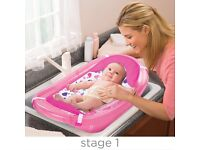 BABBY BATH PINK SPARKLE 3 STAGES WITH BATH SLING EX CONDITION