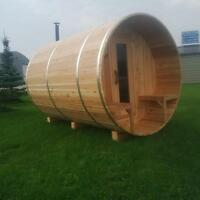 7x8' Plus 2ft Porch Knotty Western Red Cedar Barrel Sauna