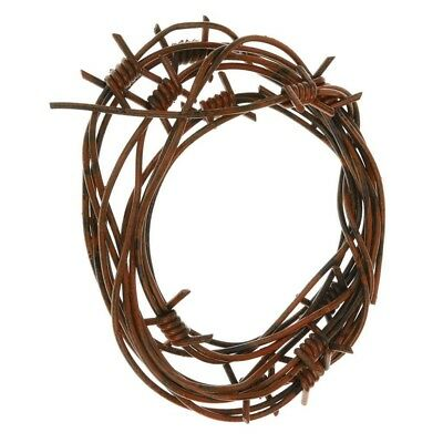 Fake Barbed Wire Halloween Prop (8' Fake Rusted Barbed Barb Wire Halloween Decoration Rusty Wire Prop)