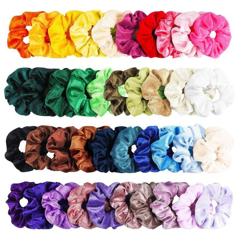 100 Pcs Velvet Elastic Hair Bands Scrunchy for Women or Girl