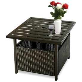 Square Rattan Patio Table with Parasol Hole HW52881