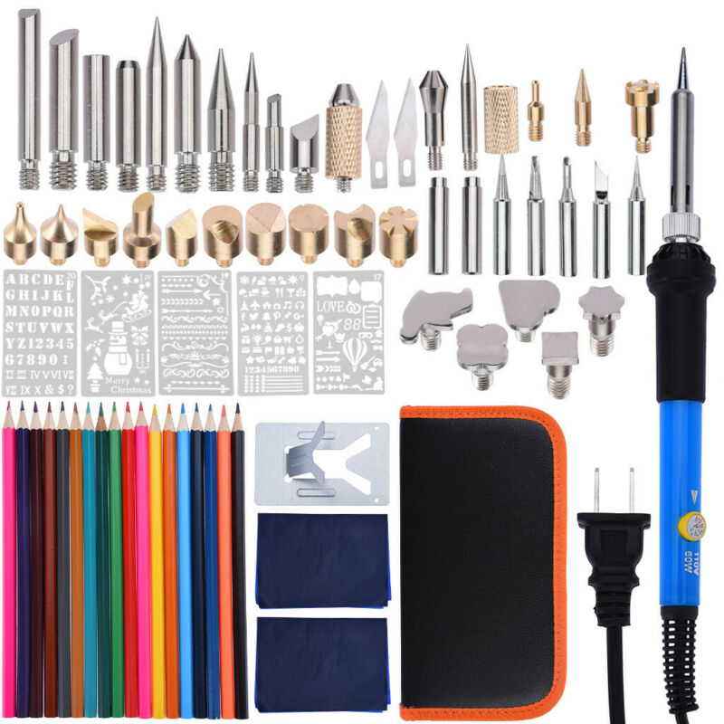 28PCS 60W Wood Burning Pen Set Tips Stencil Soldering Tools Pyrography Kit 110V